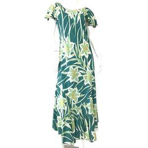 PAU HANA vntg maxi dress hibiscus print M Hawaii